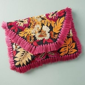 NWT Anthropologie Bright Tropics Fringe Clutch Bag